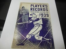 1939 CHICAGO CUBS MLB BASEBALL PLAYER'S RECORDS NATIONAL LEAGUE BALL CLUB