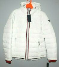 TOMMY HILFIGER WINTER PUFFER JACKET COAT XL WOMEN WHITE W/ ADJUSTABLE HOOD