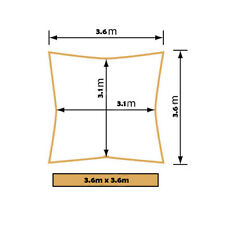 Premium Waterproof Shade Sail 3.6 X 3.6m Square Grey Outdoor UV Block Canopy