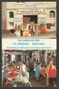 Postcard St Andrews Fife Scotland shop front Shetland Woollen Mill golf course