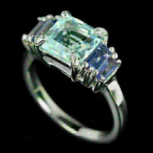 Ring Blue Topaz and Iolite Genuine Natural Gems Sterling Silver Size N 1/2  US 7