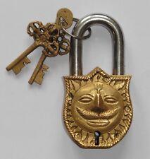 Beautiful Antique Finish Hindu Sun God Brass Padlock 11.5cm