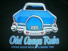 "OLD GUYS RULE "" LOOKS GOOD WITH A SPARE TIRE "" 57 CHEVY BEACH POCKET-T SIZE 2X"
