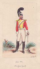 Orig Watercolor Painting: GERMAN DRAGOON OFFICER in 1812.  Painted in 1887