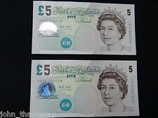 2 off Consecutive £5 Five Pound Notes  Crisp Uncirculated  Merlyn Lowther