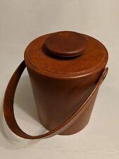 Vintage Mid-Century Modern Kraftware Ice Bucket! Retro Brown Vinyl!