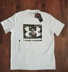 Under Armour Men's Camo Knockout Logo Tshirt Med White Hunt sport loose heat