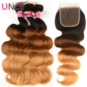 Indian Ombre Body Wave Human Hair Extensions 3 Bundles With Lace Closure Weaves