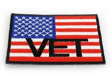 "(A54) 3"" x 2"" AMERICAN FLAG VET iron on patch (3143) Biker Military Veteran"