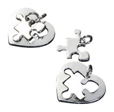 Autism Awareness Puzzle Piece Heart Charms Silver Tone Lot of 20 Pieces