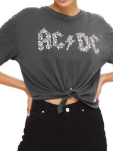 TOPSHOP and Finally AC/DC Grey Knotted Flower T shirt bnwt sizes 6-8