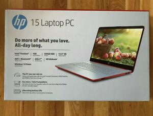 """NEW HP 15.6"""" HD Intel N5000 4GB DDR4 500GB HDD Webcam BT Windows 10 Scarlet Red"""
