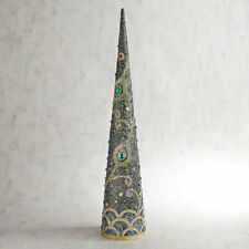 """NIB PIER 1 IMPORTS LARGE PEACOCK BEADED & GEMS CONE TREE 30"""" TALL JUST GORGEOUS"""