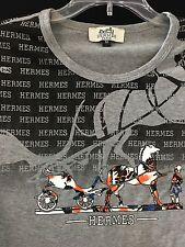 Hermes Paris Vintage Label Multi Color Long Sleeve Cotton Shirt Size M