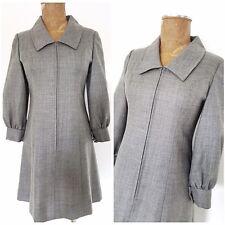 Vintage 60s Gray Pinup Dress Size Medium Zip Up Shift GOGO Mini Career