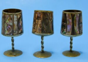 """Vintage brass abalone barware tequila cups shot glasses Cordials MEXICO 2.75"""""""