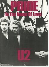 """U2 """"PRIDE"""" SHEET MUSIC-IN THE NAME OF LOVE-PIANO/VOCAL/GUITAR/CHORDS-1984-NEW!"""