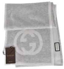NEW Gucci 548247 100% Cashmere Interlocking GG Scarf Muffler Grey/Cream