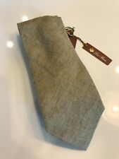 160$ Loro Piana Solid Taos Taupe 100% Linen Tie Made in Italy