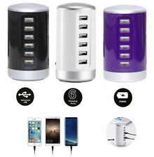Multi 6 USB Port Desktop Charger Rapid Tower Charging Station Power Adapter 30W.