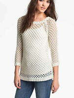 Soft Joie Womens Open Mesh Knit Tunic Sweater Pullover Ivory Sz Small