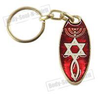 Llavero Estrella de David con Menorá rojo idea de regalo amuleto de la suerte