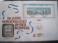 Numisbrief 50 Jahre Sonderblocks NABA ZÜRI 84 SILBER BLOCK Medaille Philswiss