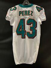 #43 JOSE PEREZ MIAMI DOLPHINS GAME USED WHITE REEBOK JERSEY YEAR 2010 SZ-44