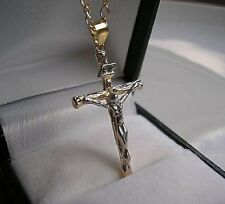 GENUINE 9ct gold Crucifix cross and chain gf FREE POSTAGE IF YOU BUY TODAY ref90