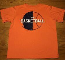 Under Armour Loose Heat Gear UA Basketball Big Logo Orange Youth Shirt Top Sz L