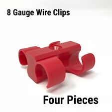 4 Dual Cable Clip screw down Clamp 8 GA RED Power Ground Wire Manage clippit