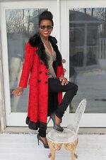 New Designer Swing full length Lipstick Red Broadtail & Mink Fur coat Jacket S-6