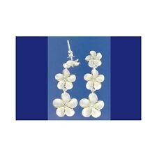 8Mm-10Mm-12Mm Dangle Earrings Cz 2 Tone Silver 925 Hawaiian 3 Plumeria Flower