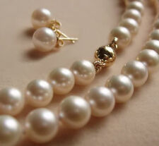 8mm White Akoya Shell Pearl Necklace Earring Set AAA 18""