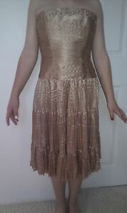 Stunning Cocktail Party / Prom Dress by MORGAN & CO. Shiny Gold. Size 5 / 6