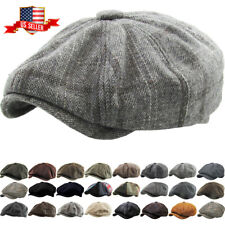 Men's Newsboy Button Top Ascot Ivy Cabbie Hat Gatsby Cap Plaid PU Leather