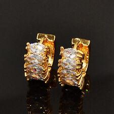 NEW Women Fashion White Cubic Zirconia 15mm Hoop Earrings Jewelry