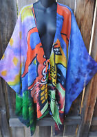 DILEMMA HAND PAINTED PICASSO INSPIRED 100% SILK ART TO WEAR LONG PONCHO RUANA,OS