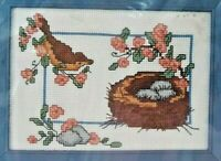 1990 Counted Cross Stitch Embroidery Kit Birds Nest 5x7 Picture Needlework 5797F