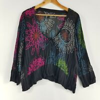 TS Taking Shape Womens Size 20 Cropped Colourful Top Sheer Circle Print Blouse