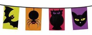 6m Long Plastic Bunting Halloween Animals 15 Flags 30x20cm Bat Spider Owl Cat