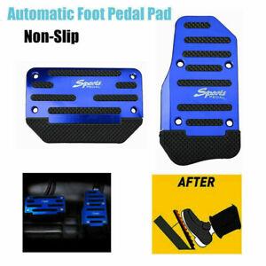 Universal 2PCS Blue Non-slip Brake Clutch Pedal Cover Set Foot Rest for Auto Car
