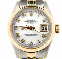 Rolex Datejust Lady 2Tone 14K Yellow Gold Steel Watch White MOP Roman Dial 6917
