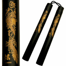 12'' Rubber Foam Nunchucks Nunchaku Black w Dragon Graphic