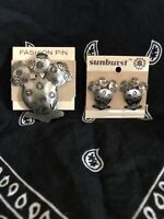 Western Cowgirl Aztec Southwest Silver Tone Metal Cactus Earrings & matching Pin
