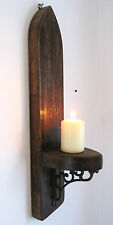 LARGE 55CM GOTHIC ARCH RUSTIC RECLAIMED SOLID WOOD WALL SCONCE CANDLE HOLDER