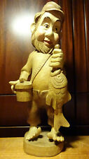 """VINTAGE 16"""" WOODEN HAND CARVED FISHERMAN DWARF WITH CATCHED FISH STATUE FIGURINE"""