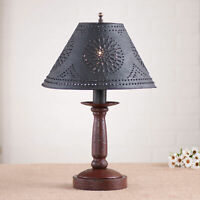 BEDSIDE TABLE LAMP with Punched Tin Shade - Distressed COLONIAL RED Finish USA