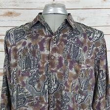 Men's Utopia Button Down 100% Silk Shirt Size Large. Brown/Dark Purple. Pocket.