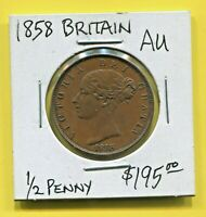 GREAT BRITAIN - FANTASTIC HISTORICAL QV COPPER HALF PENNY, 1858, KM# 726
